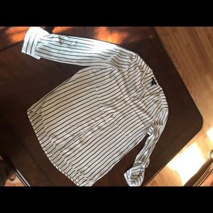 Black and white striped button up